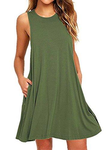 Bestisun Poches Sans Manches Robes T-shirt Swing Décontracté Des Femmes Armygreen