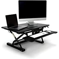 Essentials Sit to Stand Desktop Riser - Adjustable Standing Desk with Keyboard Tray, 22 x 35, Black (ESS-5136-BLK)