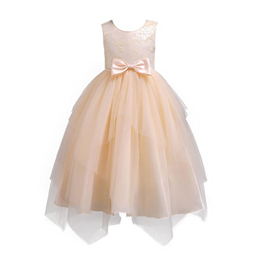 Baby Girl Round Neck Sleeveless Shinny Sequins Bowknot Lace Tulle Dress Wedding Bridesmaid PageantParty Princess Dress (5-6 T, Beige)