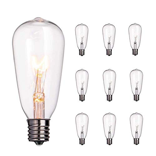 Sunsgne 10-Pack Edison Light Bulbs, 7-watt E17 Candelabra Screw Base ST40 Replacement Clear Glass Light Bulbs for Outdoor Patio Edison Bulb String Lights, Warm White