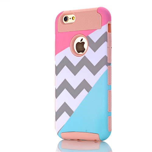 iPhone 5 Case,iPhone 5S Case,LUOLNH [2in1] Heavy Duty Hybrid Hard Case for Apple Iphone 5/5s ,Blue Mint Teal and Coral Pink Split Chevron Design Cover(Rose Gold)