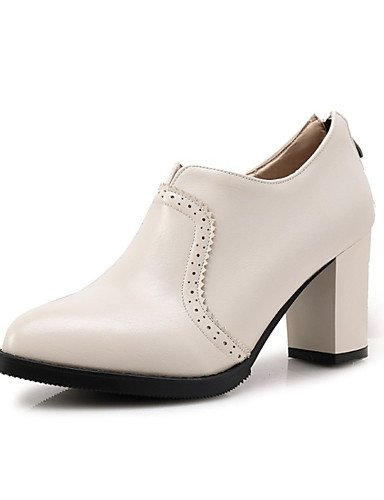 ZQ Zapatos de mujer-Tac¨®n Robusto-Tacones-Tacones-Exterior / Vestido / Casual-Semicuero-Negro / Rojo / Blanco / Gris , gray-us10.5 / eu42 / uk8.5 / cn43 , gray-us10.5 / eu42 / uk8.5 / cn43 white-us10.5 / eu42 / uk8.5 / cn43