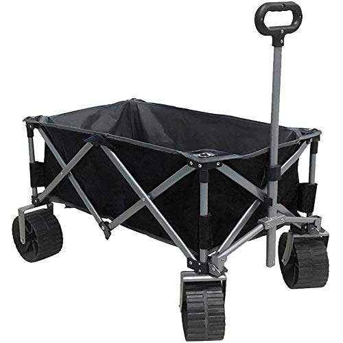 Eurmax Sports Collapsible Sturdy Steel Frame Garden Carts on Wheels Utility Beach Wagon Cart with Big Wheels Bonus 8x8Ft Picnics Mat Black