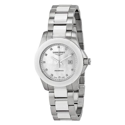 Longines Conquest L32574877 - Reloj de Pulsera para Mujer (Esfera Blanca, cerámica), Color Blanco: Amazon.es: Relojes