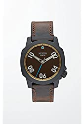 Nixon Ranger 40 Leather All Black / Brass / Brown Stainless Steel Analog Watch
