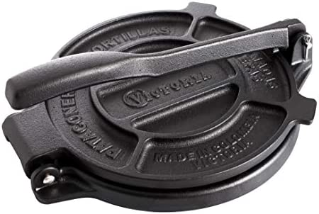 Seasoned Original Made in Colombia Victoria 6.5 inch Cast Iron Tortilla Press and Pataconera