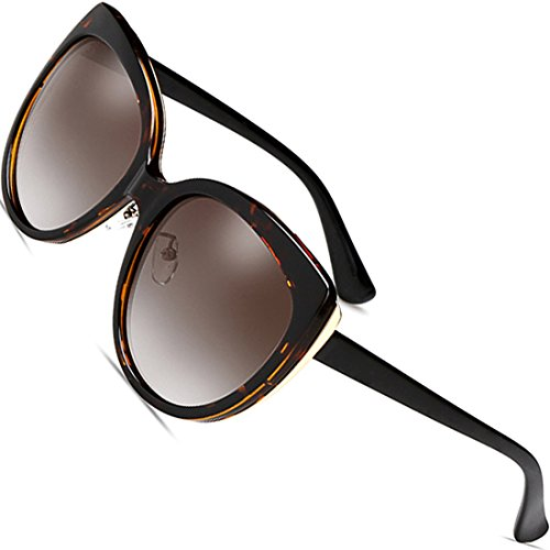 SIPLION Womens Polarized Cat Eye Oversized Sunglasses For Women