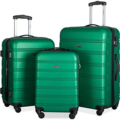 Merax Travelhouse Luggage Set 3 Piece Expandable Lightweight Spinner Suitcase (Green1)