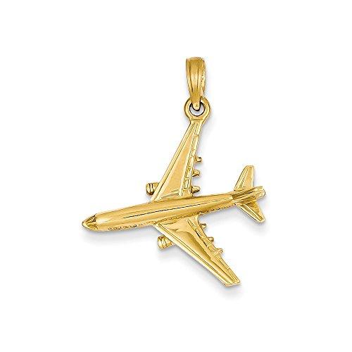 14k Yellow Gold 3-Dimensional Jet Pendant