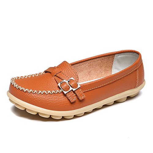 LINGTOM Women's Casual Leather Loafers Driving Moccasins Flats Shoes Orange