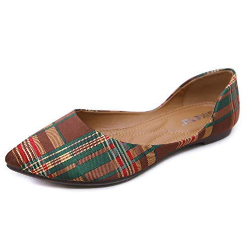 Orangetime Womens Classic Pointy Toe Ballet Flats Plaid Flat Shoes Slip On Moccasins Brown ()