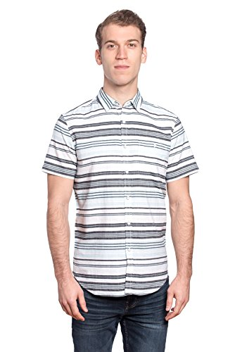 Free Planet Mens Designer Horizontal Striped Collared Shirt with Chest Pocket - White / Light Blue Stripe, L - Caddyshack Outfit