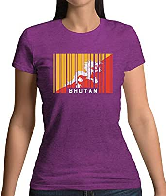 Bhutan Barcode Style Flag - Womens T-Shirt - Antique Heliconia - Small