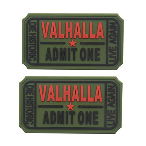 (Homiego Ticket to Valhalla Admit One Die Historic Live Again Tactical Morale Badge Rubber Patch (Rubber Green))