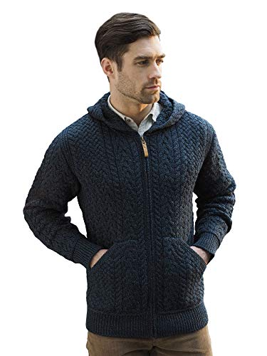 West End Knitwear Irish Merino Wool Men's Hooded Aran Zip Sweater Coat (Sherwood, Large)