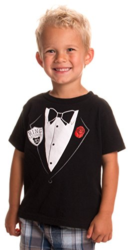 Little Boys' Ring Security Services | Cute Ringbearer Rehearsal Toddler T-Shirt-(Toddler,3T) Black