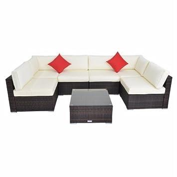 Amazon.com : 7pcs Outdoor Wicker Sofa Set Steel Frame PE Wicker Sofa ...