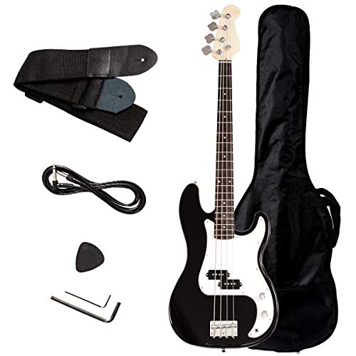 Safstar Electric Bass Guitar Full Size 4 Strings with Amp Cord Strap Bag Package for Starter Beginners - Starter Package Beginner