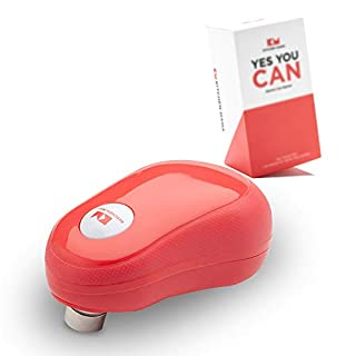 Kitchen Mama One Touch Electric Can Opener: Open Your Cans with A Simple Push of Button and Automatic Shut-off - No Sharp Edge, Food-Safe and Battery Powered Can Opener (Red)