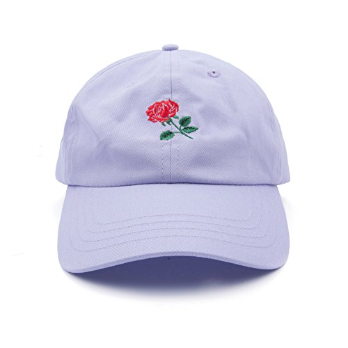 Rose Adjustable Dad Hat Men Women Fit Cotton Floral Baseball Cap (Light Purple)