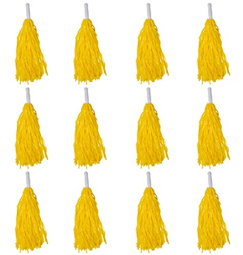 Cheerleading Pom Poms - 12 Pack Cheerleader Pom with Handles, Cheering Squads, for Party Costume, Holiday Celebration, Stage Performance Sports, Spirit Cheering, Dance, Yellow, 14 x 4.5 x 1 inches]()