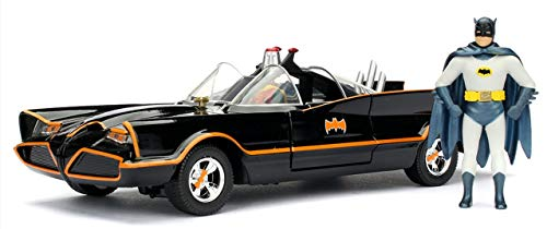 Jada Toys DC Comics 1966 Classic TV Series Batmobile with Batman and Robin figures; 1:24 Scale Metals Die-Cast Collectible Vehicle from Jada