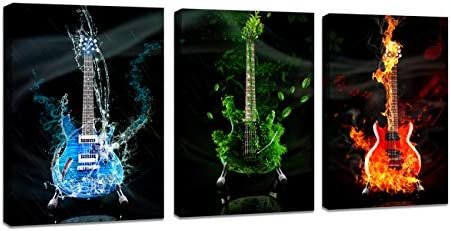 DZL Art A40934 3 Panels Red Green Blue Guitar Wall Art Pictures Print On Canvas Painting Wall Art Paintings Wall Artworks Picture