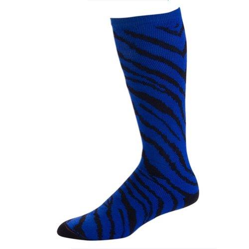 Pizzazz Girls Royal Blue Zebra Stripe Knee High Socks Cheer Dance 12-5 Royal Blue Five Stripe