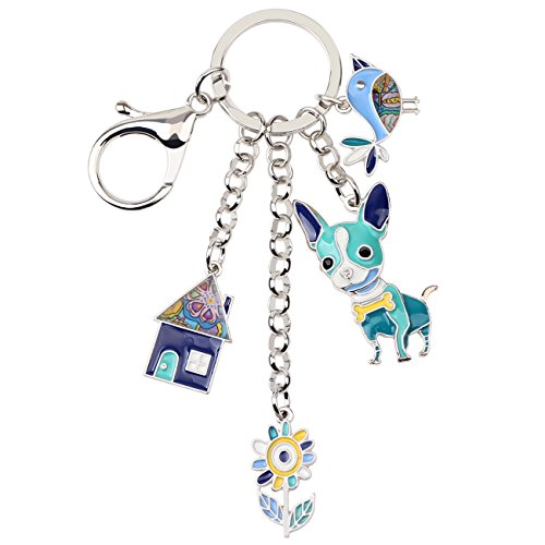 Bonsny Enamel Alloy Chain Chihuahua Dog Key Chains For Women Car Purse Handbag Charms Gifts (Blue) ()