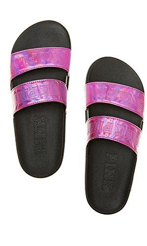 Pink Strap Pink Victoria's Double Slides Metallic Sport Sandals Secret H8xqxwCa