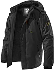 TREKEK Men's Winter Ski Jacket Warm Fleece Waterproof Outdoor Mountain Hiking Windbreaker Hooded Snow Rain Coat