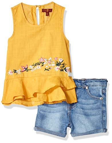 - 7 For All Mankind Kids Girls' Toddler Textured Woven Ruffle Hem Tank Top and Denim Short, Buff Yellow/Light Wash, 3T