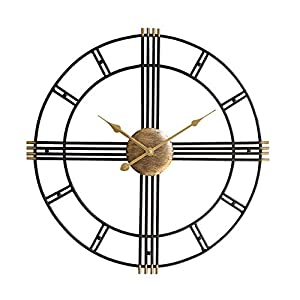 Wall clock Reloj Grande 50 cm Esqueleto Negro Metal Reloj de Pared de jardín 1 AA batería Sala de Estar Comedor 14