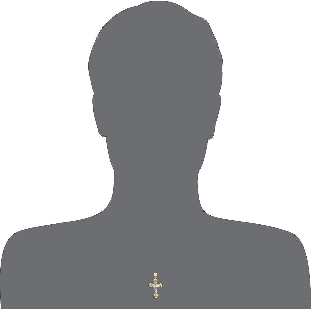 Jesus Christ Crucifix Cross Pendant Religious Charm 20mm 14k Yellow Gold White Rhodium