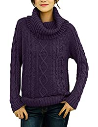 7e974a5c26 Women s Korean Design Turtle Cowl Neck Ribbed Cable Knit Long Sweater Jumper