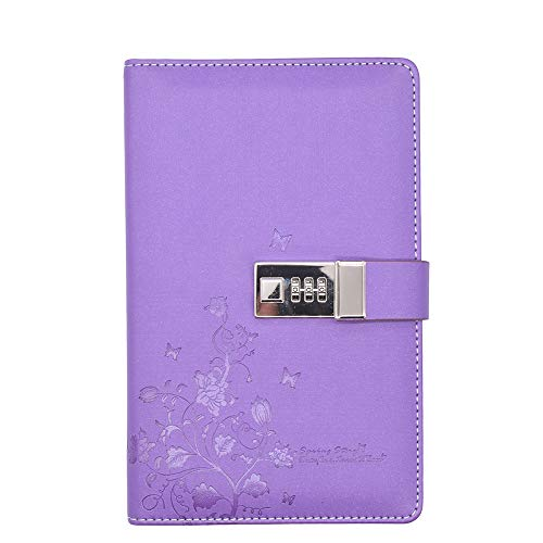 JunShop A5 PU Leather Journal with Lock Password Notebook Locking Personal Diary Diary with Combination Lock (Purple)