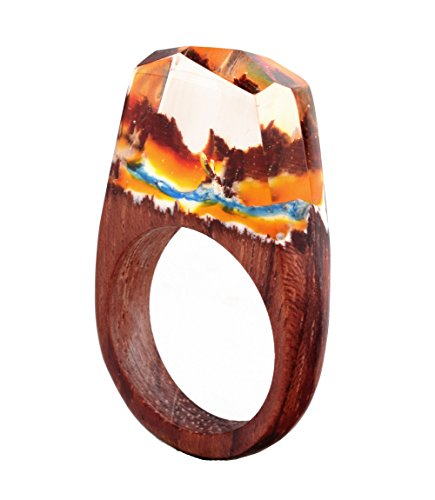 Heyou Love Handmade Wood Resin Ring With Volcano Scenery Landscape Inside Jewelry by Heyou Love (Image #1)
