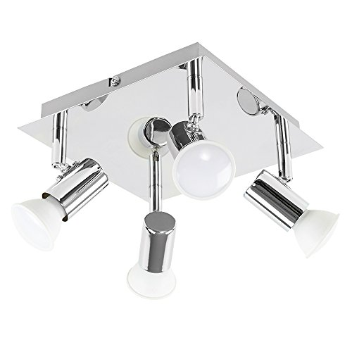 b3586f6a1aac Modern Square Chrome 4 Way GU10 Ceiling Spotlight  Amazon.co.uk ...