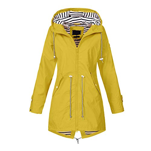 vermers Women Outdoor Sport Rain Jackets Coat Clearance, Women's Casual Waterproof Hooded Raincoat Windproof Outerwear(US:14/3XL, Yellow)