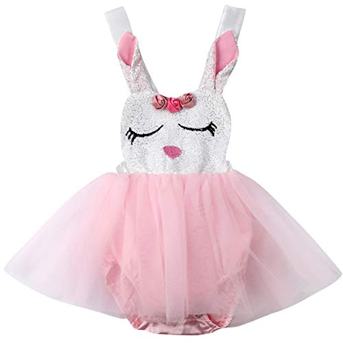 Baby Girls Easter Rabbit Outfits with Custom Easter Bunny Tutu Dress (Pink, 6-12 Months)