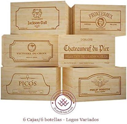 ZonaWine - Lote 6 Cajas de Madera para 6 Botellas de Vino/Logos ...