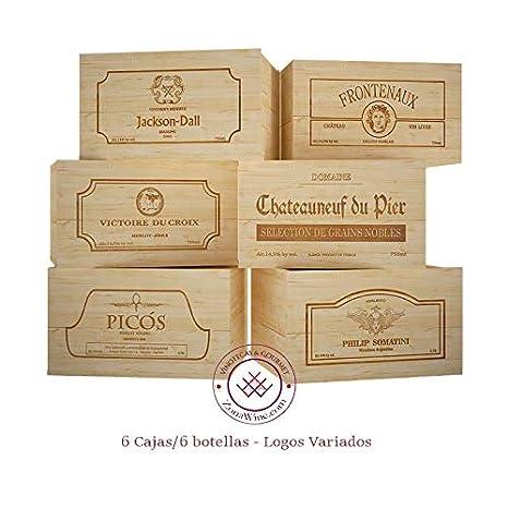 ZonaWine - Lote 6 Cajas de Madera para 6 Botellas de Vino ...
