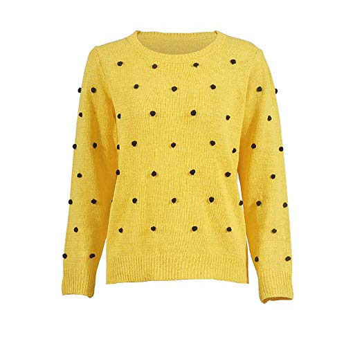 Youngh New Womens Sweatshirt Solid Dot Ball Loose Long Sleeve Casual Fashion Knitted Pullover Tops Sweater by Youngh Sweatshirt (Image #4)