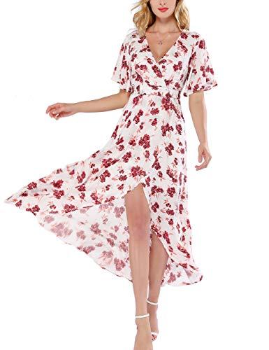 98c77774a5c9 Azalosie Women Wrap Maxi Dress Short Sleeve Empire Waist Flowy Dress  Wedding Formal Party Prom Evening