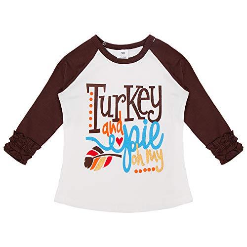 Baby Toddler Girl Icing Ruffle Tops Unicorn Raglan T-Shirt Boutique Tee Soft Shirt Halloween Costume Birthday Clothes Brown Turkey 12 Months ()