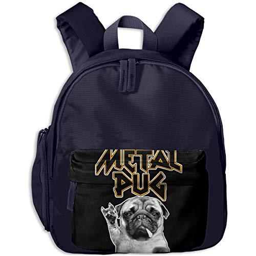 (Heavy Metal Music Pug Children's/Kids School/Nursery/Picnic/Carry/Travelling Bag Backpack Daypack Bookbags)