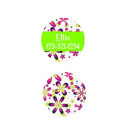 Cute Round Designer Pet Tag Groovy Flowers, Badge for Dogs and Cats Created by Little Paw Store - Groovy Round