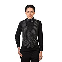 Women\'s Black & Silver Glitter Pinstripe Pattern Vest-X-Large