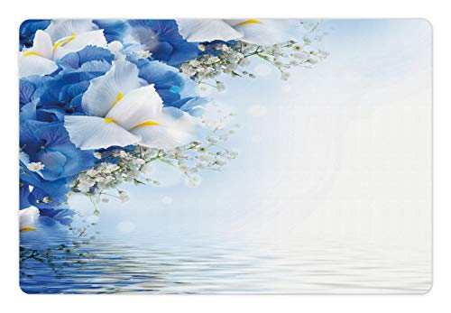 Hydrangea Dreamy (Ambesonne Blue and White Pet Mat for Food and Water, Blue Hydrangeas and White Irises Over The Sea Romantic Bouquet Dreamy, Rectangle Non-Slip Rubber Mat for Dogs and Cats, Blue White Yellow)