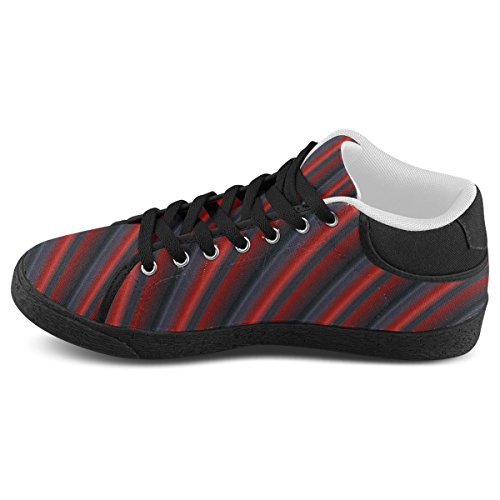 Artsadd Glossy Red Gradient Stripes Chukka Canvas Shoes For Men (Model003)